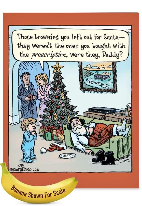 Prescription Brownies: Hilarious Merry Christmas Jumbo Printed Greeting Card