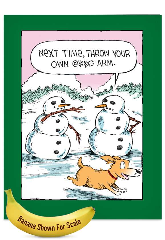 Snowman Arm: Funny Christmas Jumbo Paper Greeting Card