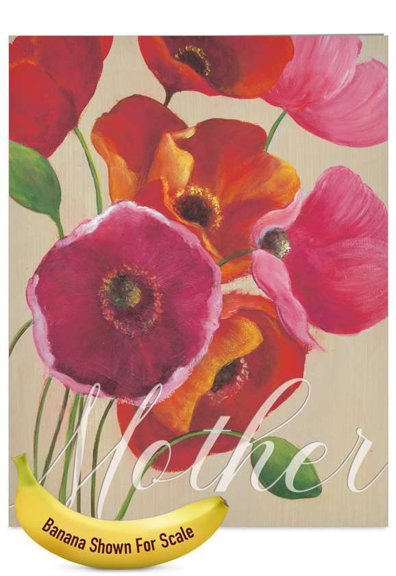 Painted Poppies: Stylish Mother's Day Jumbo Paper Greeting Card
