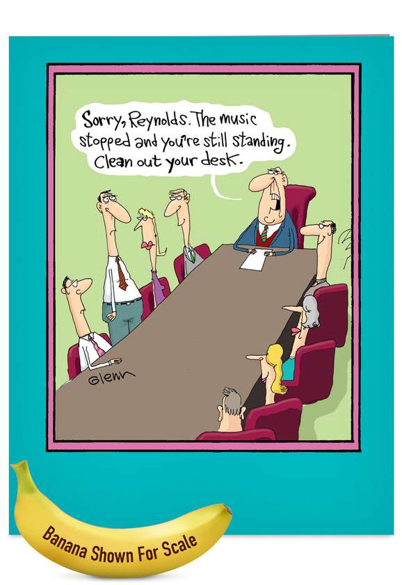 Musical Chairs: Funny Retirement Jumbo Printed Greeting Card