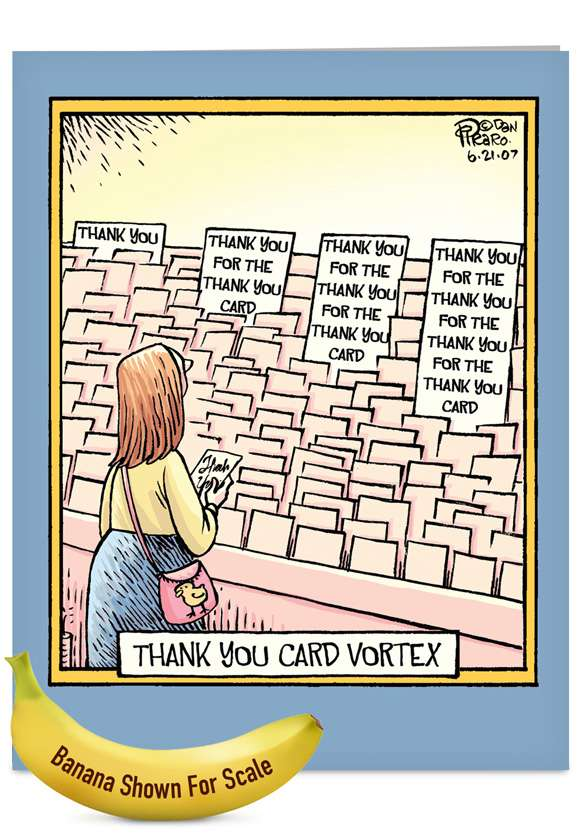Thank You Card Vortex: Humorous Thank You Jumbo Paper Greeting Card