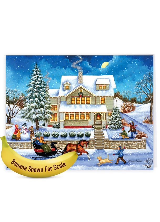 Old Town: Stylish Christmas Jumbo Paper Card