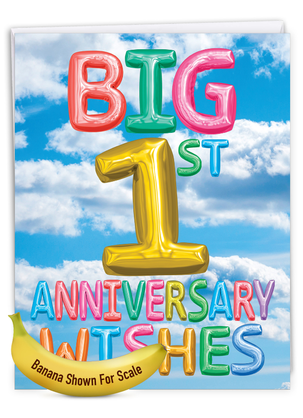 Inflated Messages - 1: Stylish Milestone Anniversary Extra Large Paper Card
