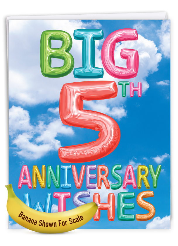 Inflated Messages - 5: Stylish Milestone Anniversary Over-sized Paper Greeting Card