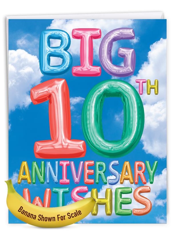 Inflated Messages - 10: Stylish Milestone Anniversary Big Card