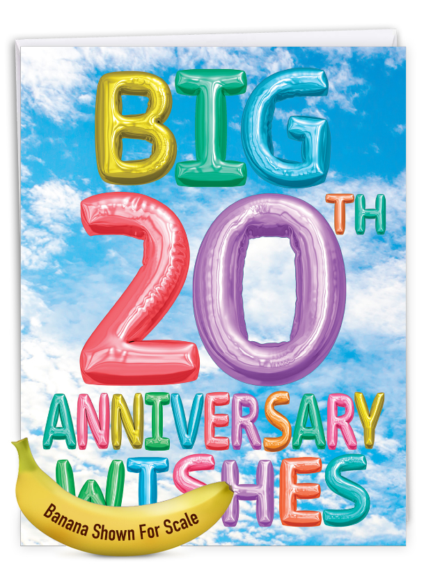 Inflated Messages - 20: Stylish Milestone Anniversary Extra Large Paper Card
