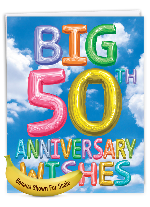 Inflated Messages - 50: Stylish Milestone Anniversary Extra Large Paper Card