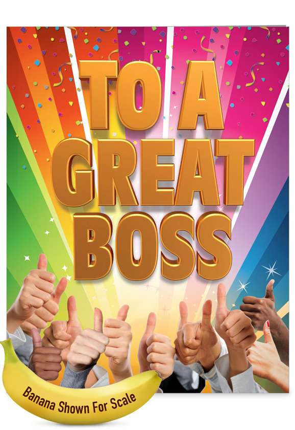 Great Boss From All: Hilarious Thank You Jumbo Printed Card
