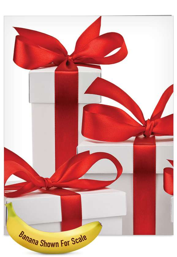 Season's Surprises: Stylish Christmas Thank You Jumbo Greeting Card