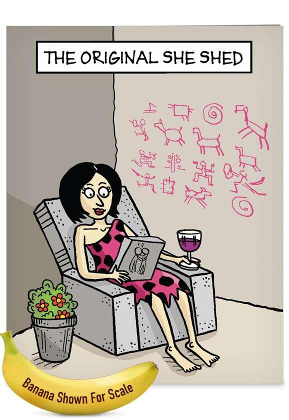 Original She Shed: Hilarious Birthday Jumbo Paper Card
