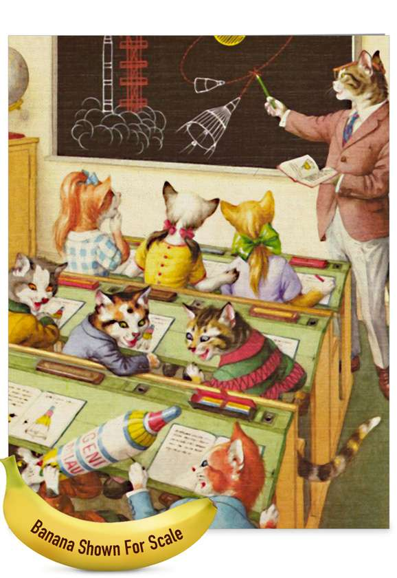 Crazy Cats - Teacher TY: Creative Teacher Thank You Large Greeting Card