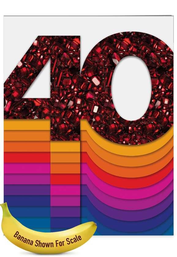 Bold Milestones - 40th Anniversary: Stylish Anniversary Over-sized Paper Greeting Card