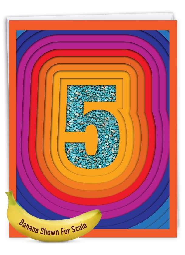 Bold Milestones - 5: Creative Milestone Anniversary Large Greeting Card