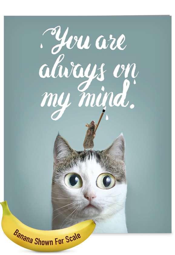 Cat-Sent Greetings: Creative Miss You Large Greeting Card