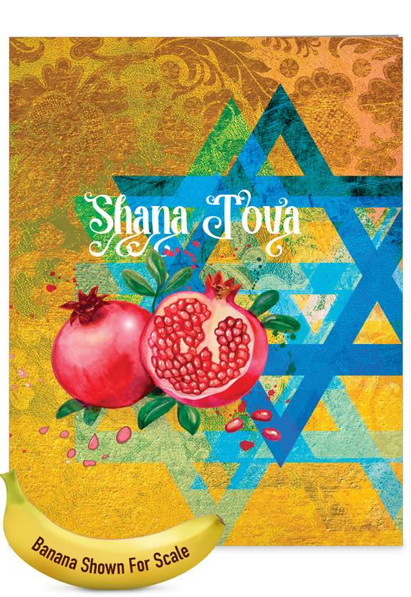 Shana Tova Greetings-Star and Pomegranates: Stylish Rosh Hashanah Over-sized Paper Greeting Card