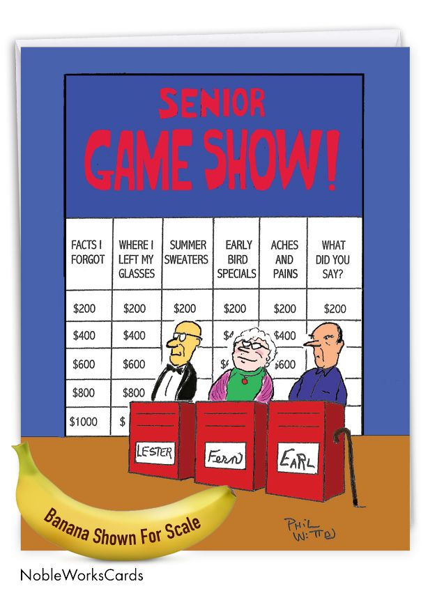 Senior Jeopardy: Hysterical Blank Jumbo Greeting Card