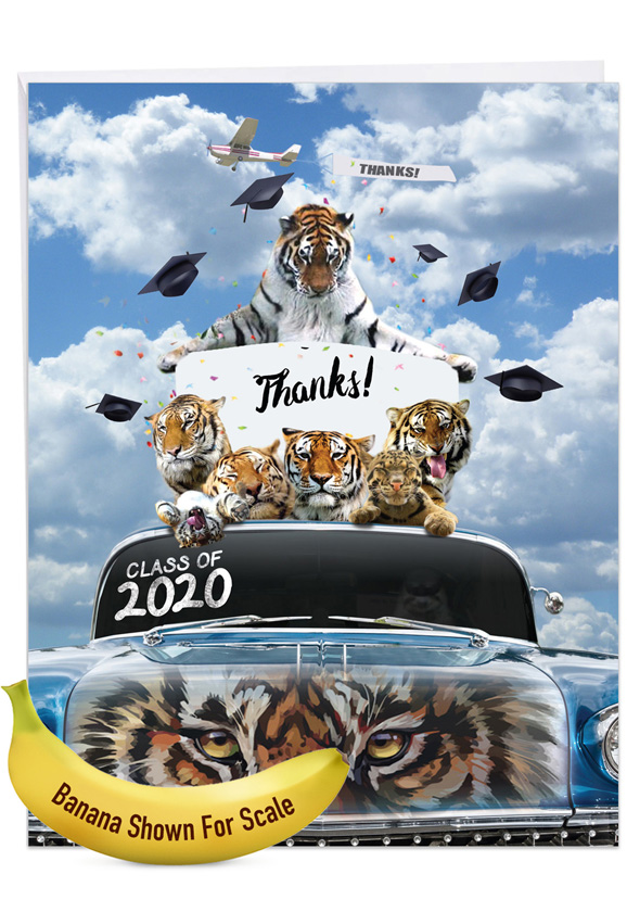 Tigers Mascot - 2020: Creative Graduation Thank You Giant Printed Card