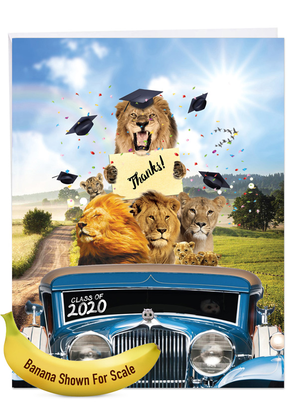 Lion Mascots - 2020: Stylish Graduation Thank You Over-sized Paper Greeting Card