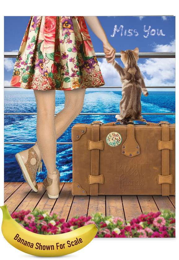 Cat and Friend: Whimsical Miss You Over-sized Paper Greeting Card
