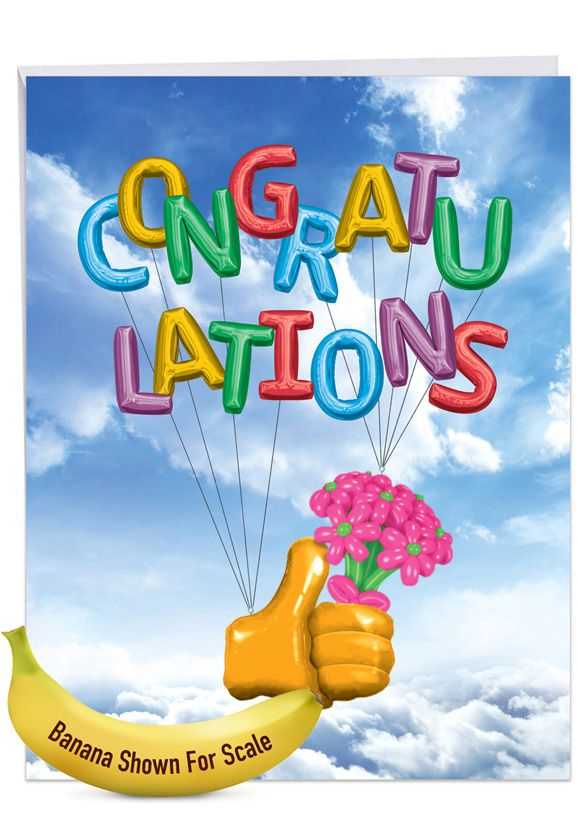 Thumbs-Up Balloons: Hysterical Congratulations Giant Printed Card