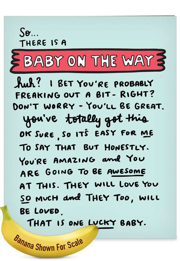 Baby On The Way: Humorous Baby Over-sized Paper Greeting Card