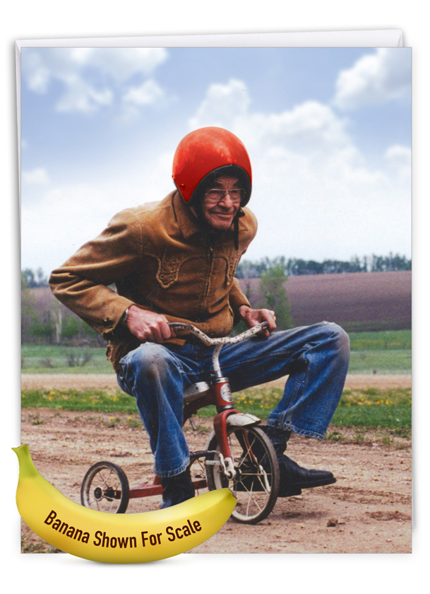 Senior Trike Ride: Funny Retirement Over-sized Paper Greeting Card