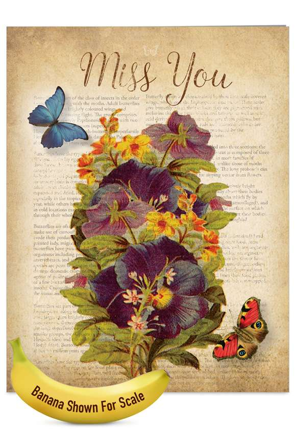 Fluttering Words: Creative Miss You Jumbo Greeting Card
