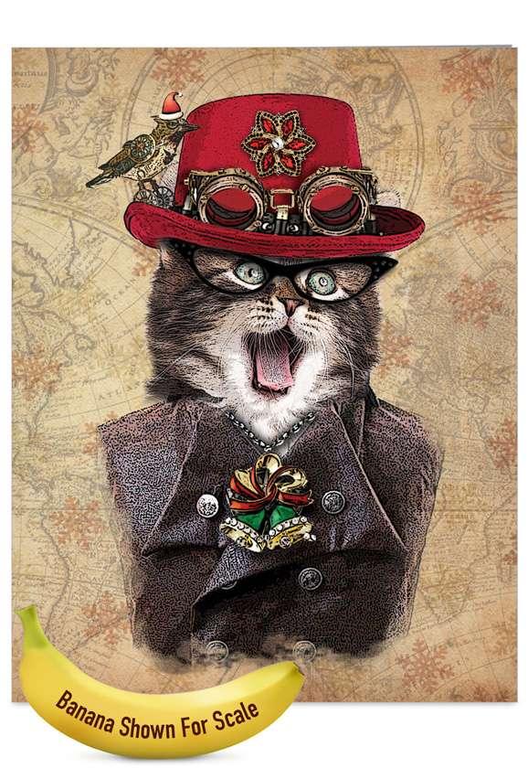 Steampunk Cats: Creative Christmas Jumbo Paper Greeting Card