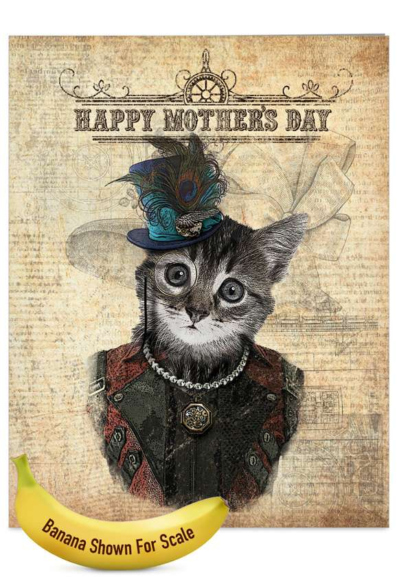 Steampunk Cats: Stylish Mother's Day Jumbo Printed Greeting Card