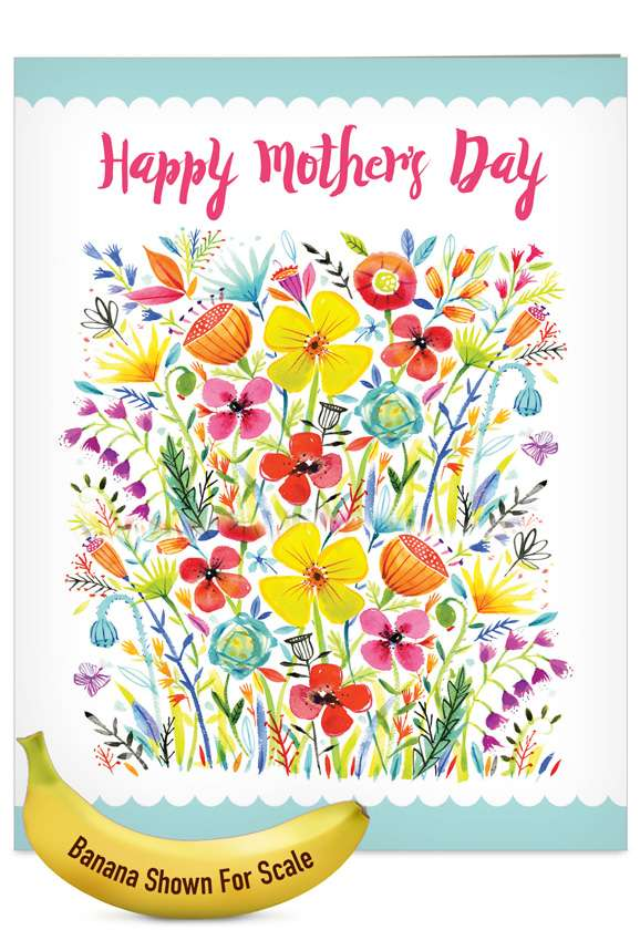 Garden Delights: Stylish Mother's Day Jumbo Printed Greeting Card