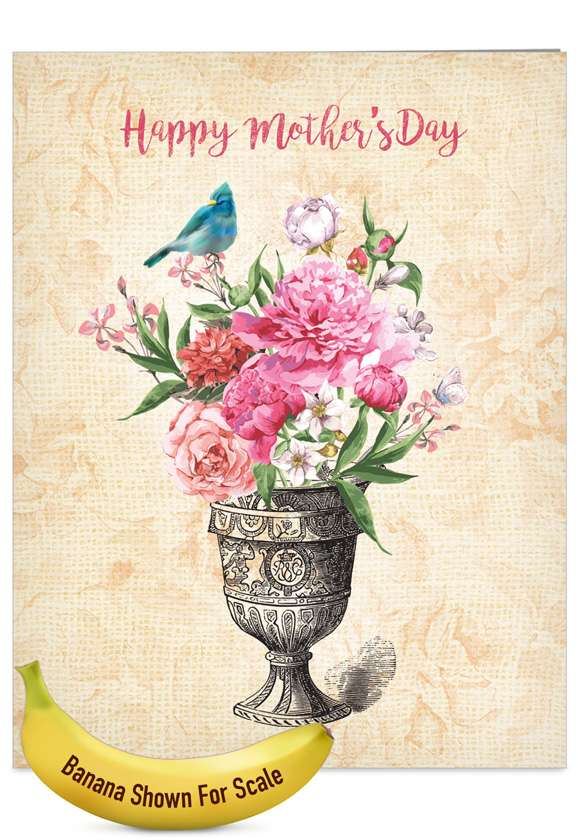 Blooming Urns: Stylish Mother's Day Jumbo Paper Card