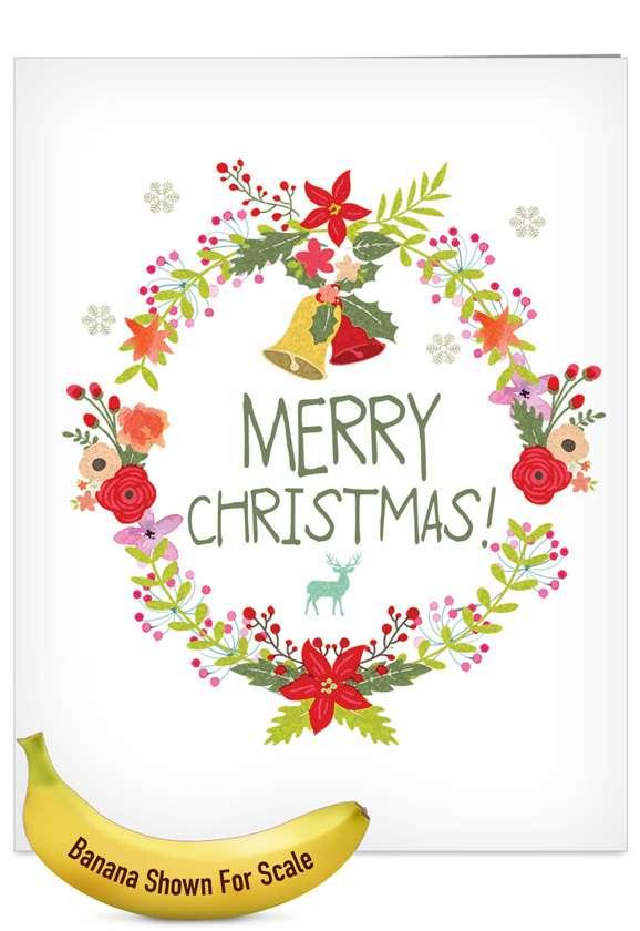 Watercolor Wreaths: Creative Christmas Jumbo Printed Greeting Card
