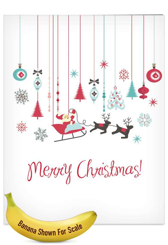 Red and Blue Retro: Creative Christmas Jumbo Greeting Card