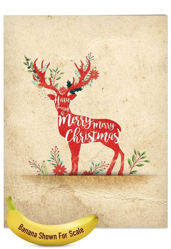 Holiday Knockout: Stylish Christmas Jumbo Printed Greeting Card