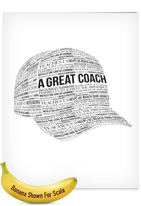 A Great Coach: Stylish Thank You Extra Large Paper Card