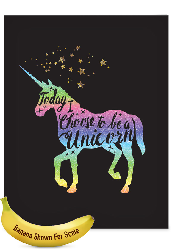 Horns and Unicorns - Choose To Be: Stylish Birthday Extra Large Paper Card