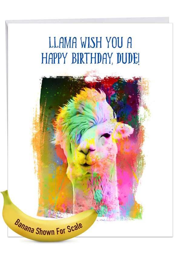 Funky Rainbow Llamas: Creative Birthday Jumbo Printed Greeting Card