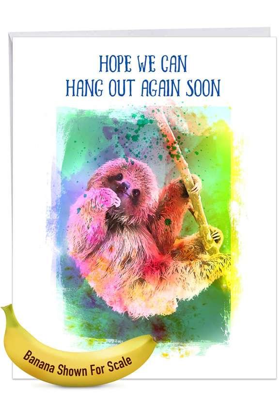 Funky Rainbow Sloth: Creative Get Well Giant Printed Card