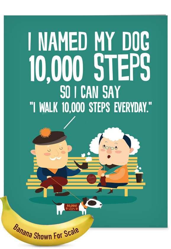 10,000 Steps: Funny Birthday Big Card