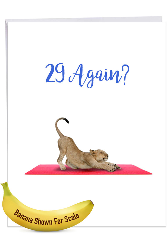 Wildlife Yoga - Lioness: Creative Birthday Jumbo Printed Greeting Card