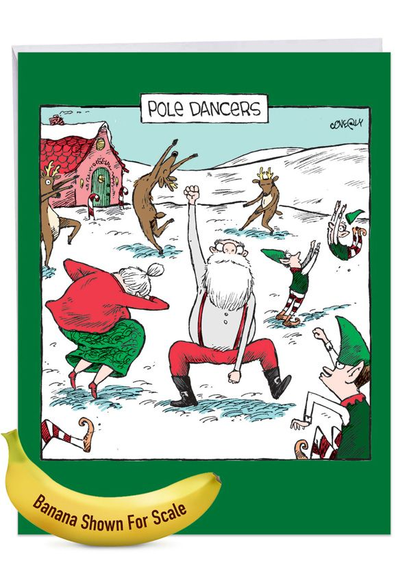 Pole Dancers: Hilarious Merry Christmas Giant Printed Card