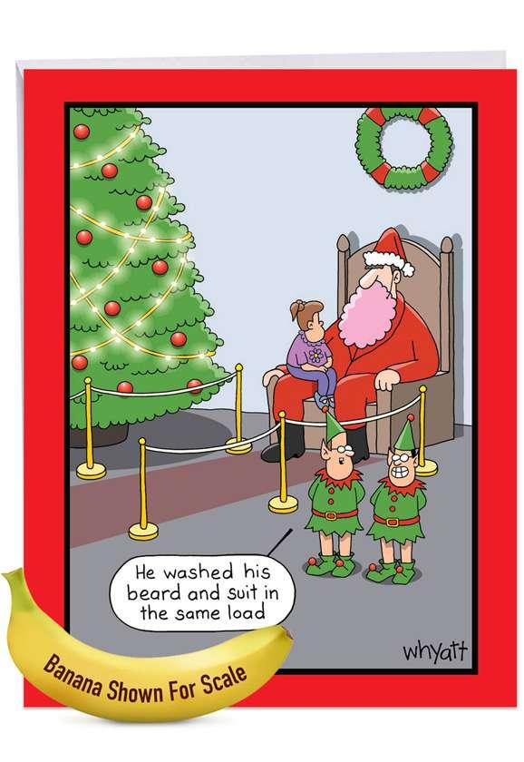 Pink Beard: Hilarious Merry Christmas Large Greeting Card