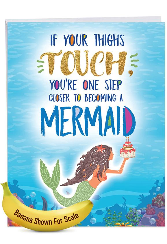 Mermaid Thighs: Hilarious Birthday Giant Printed Card