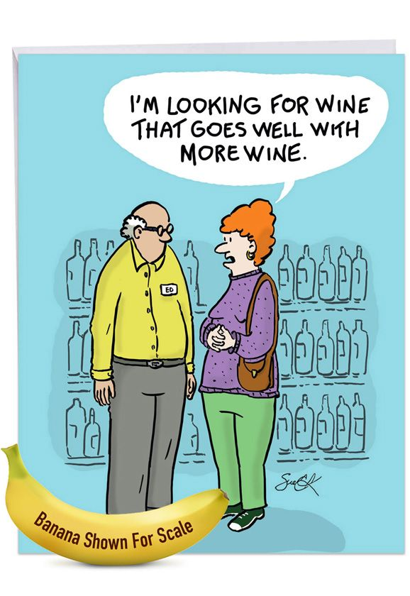 More Wine: Funny Birthday Over-sized Paper Greeting Card