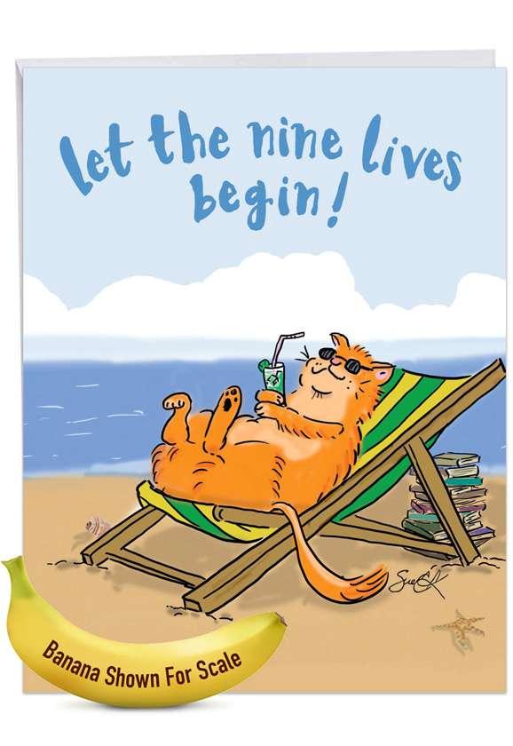Cat Retirement: Hilarious Retirement Jumbo Printed Greeting Card