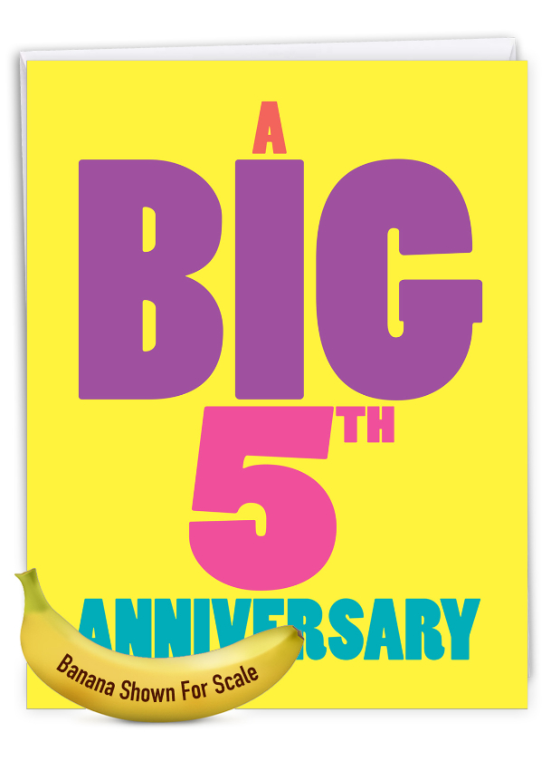 Big 5: Hilarious Milestone Anniversary Jumbo Printed Greeting Card