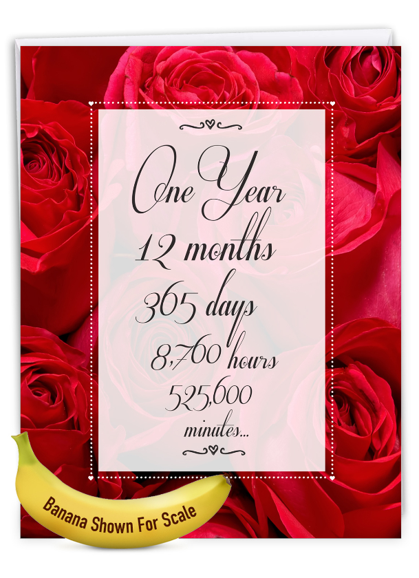 1 Year Time Count: Stylish Milestone Anniversary Over-sized Paper Greeting Card
