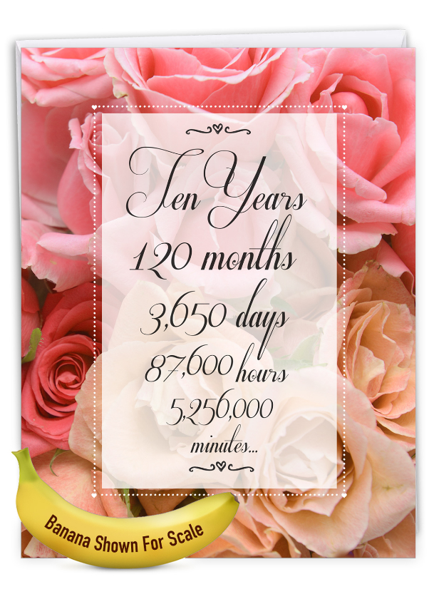 10 Year Time Count: Creative Milestone Anniversary Large Greeting Card
