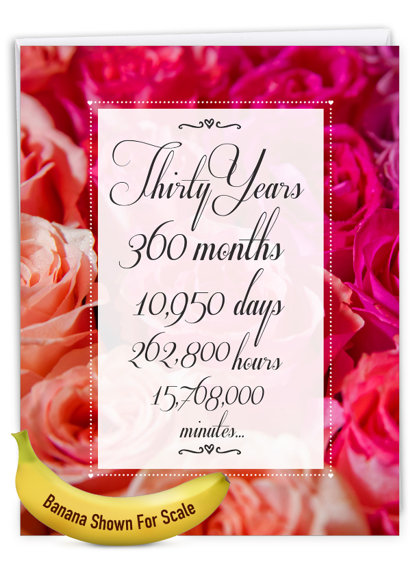 30 Year Time Count: Stylish Milestone Anniversary Over-sized Paper Greeting Card