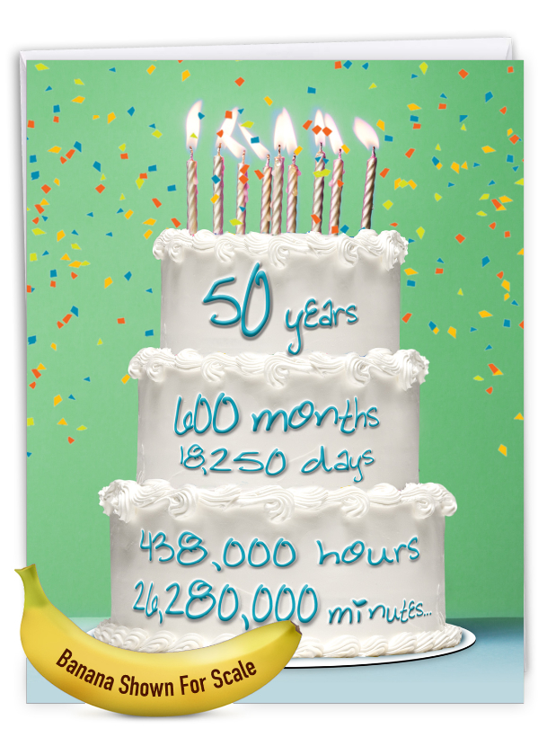 50 Year Time Count: Creative Milestone Birthday Large Greeting Card